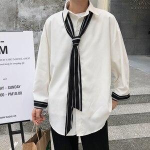 Image 3 - 2019 frühling Und Sommer Modelle Koreanische Version Der Trend Lose Beiläufige Jugend Einfarbig Lange ärmeln Hemd Camisa masculina
