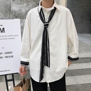 Image 3 - 2019 wiosna i modele letnie koreańska wersja trendu luźne casual młodzieżowe jednolity kolor koszula z długimi rękawami Camisa Masculina