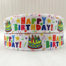 1''(25mm) happy Birthday high quality printed polyester ribbon 5 yards,DIY handmade materials,wedding gift wrap,5Yc354