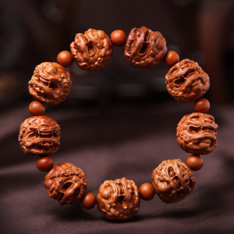 Pi Xiu Yao Foo Dog Lion Chinese Wood Carving Sculpture Bracelet Hand Strings