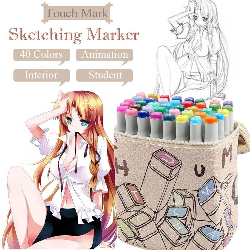 40 couleurs double tête marqueurs d'art huileux à base d'alcool artiste pinceau stylo pour dessin Animation Design école bureau Art fournitures