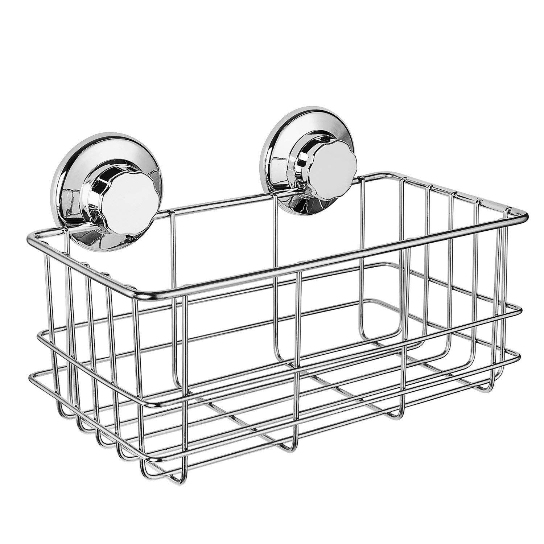 Suction Cup Deep Shower Caddy Bath Wall Shelf for Large Shampoo Shower Gel Holder Bathroom Storage - Rustproof Stainless Steel