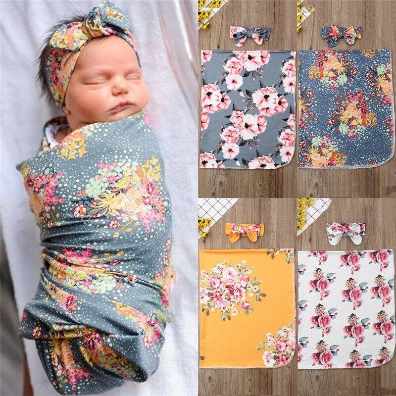 PUDCOCO  Newborn  Floral Snuggle Swaddle Blanket Baby Boys Girls Sleeping Bag Wrap Headband Cloth  0-3M