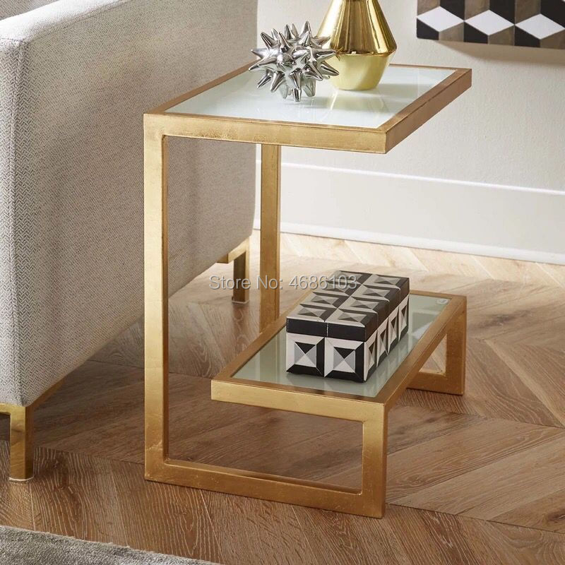 Nordic living room sofa side a few small coffee table wrought iron glass  creative side table bedroom simple bedside table square
