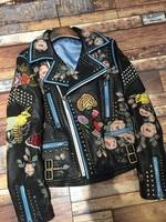 Widely Rivet Autumn Winter Real Genuine Leather Jacket 2017 Floral Snake Embroidery Black Jacket Coat Women Motorcycle Jacket