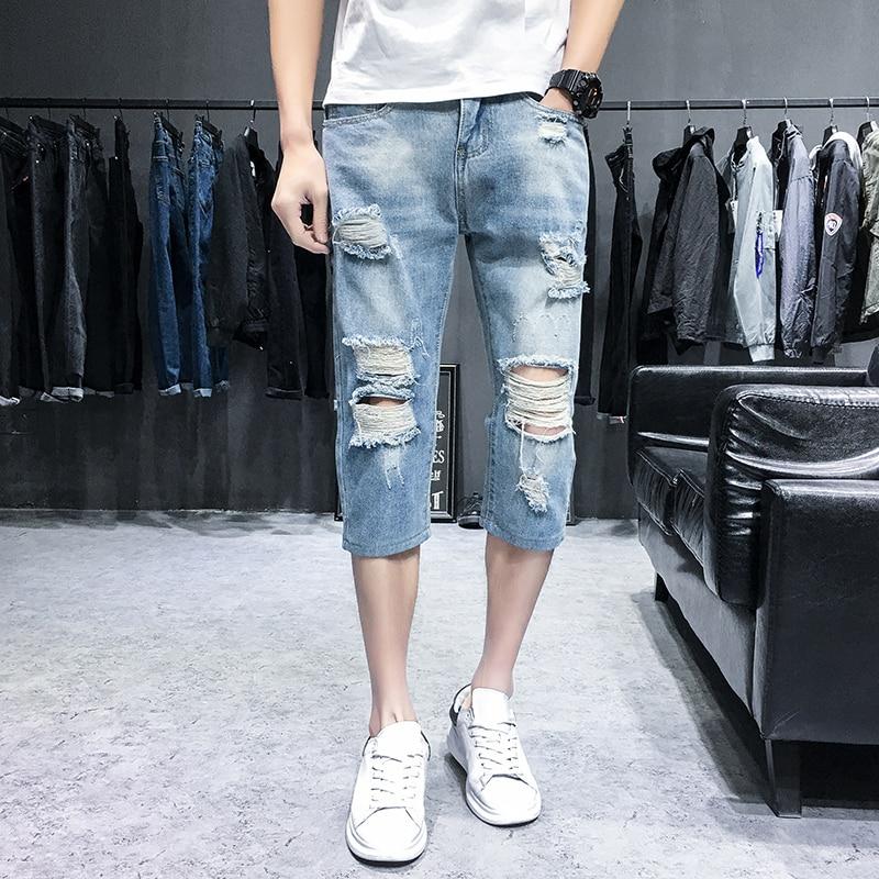 0cf5c04eda3 UUYUK-Men Slim Fit Mid Waist Ripped Hole Denim Shorts Capri Pants Crop  Jeans Clothing Men