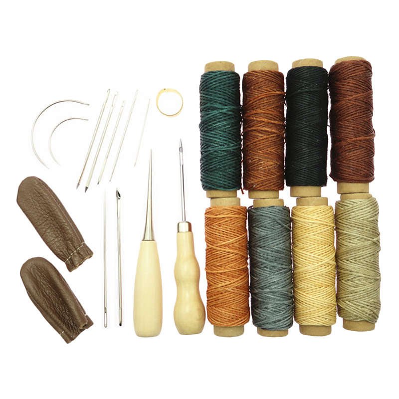 Hot Sale 22Pcs Leather Craft Hand Stitching Sewing Tools Awl Waxed Thread Thimble Kit