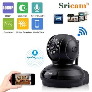 SRICAM SP019 2.0MP Wireless IP Camera Wifi 1080P Night Vision Camera P2P Onvif Camera Indoor Security Camera Two Way Audio Black