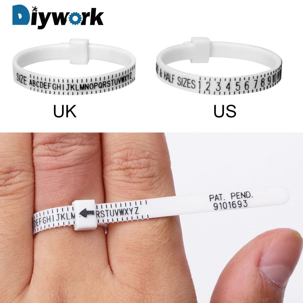 Portable Size UK US Ring Sizer Measure Finger Gauge for Wedding Ring Band Genuine Tester Measurement Tool