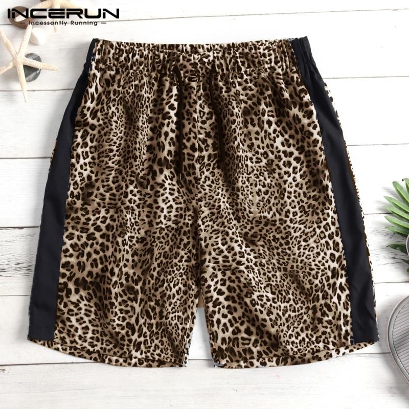2019 New Leopard Shorts Unisex Men Shorts Knee-Length Loose Joggers Hiphop Male Bottom Fashion Shorts Loose Patchwork Harajuku