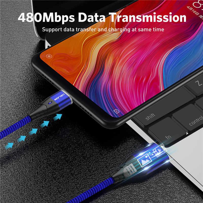 USLION Magnetik Cepat Kabel Pengisi Daya Mikro USB Android Kabel Data Magnet Kawat Charger untuk Samsung Xiaomi Huawei Ponsel 3A