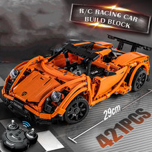 421PCS Super Racing RC Car Model Building Blocks Set with Rechargeable Battery Brick Compatible Legoes LEPINS Toys Gift kid Boy(China)