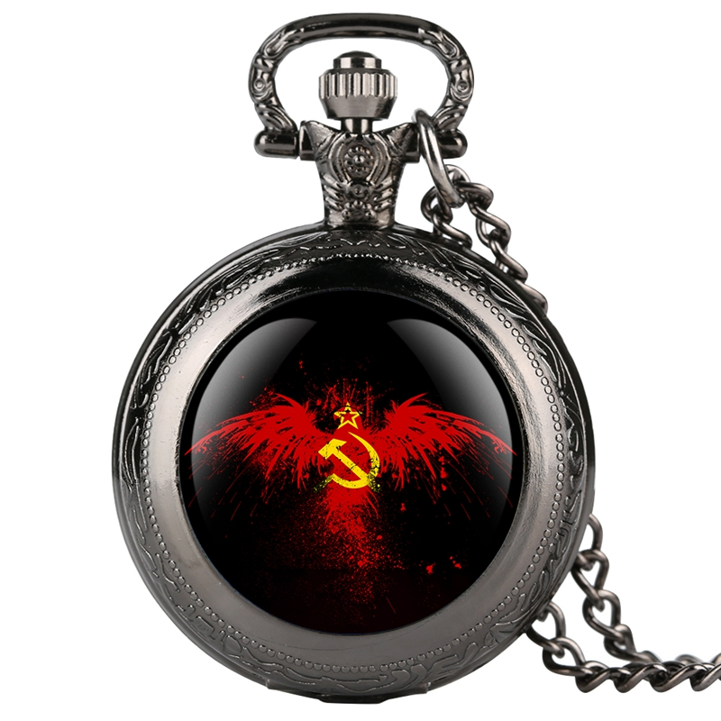 Vintage Emblem USSR Soviet Badges Hammer Sickle Pocket Watch Retro Russia Army CCCP Communism Necklace Clock Chain For Men Women
