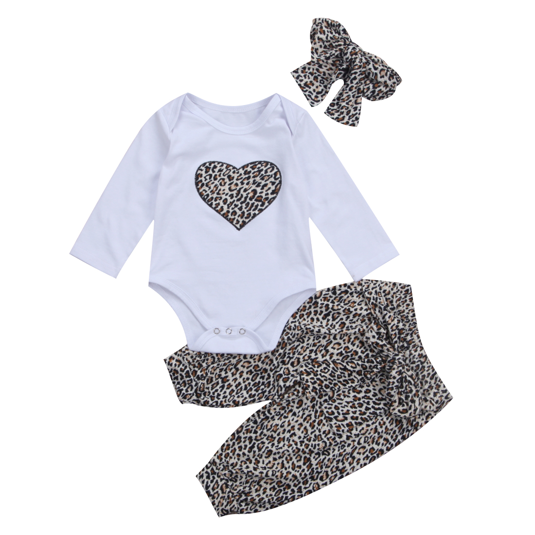 Pudcoco Kids Girl Clothes Autumn Fall Outfit Newborn Infant Baby Children Clothing Set leopard print