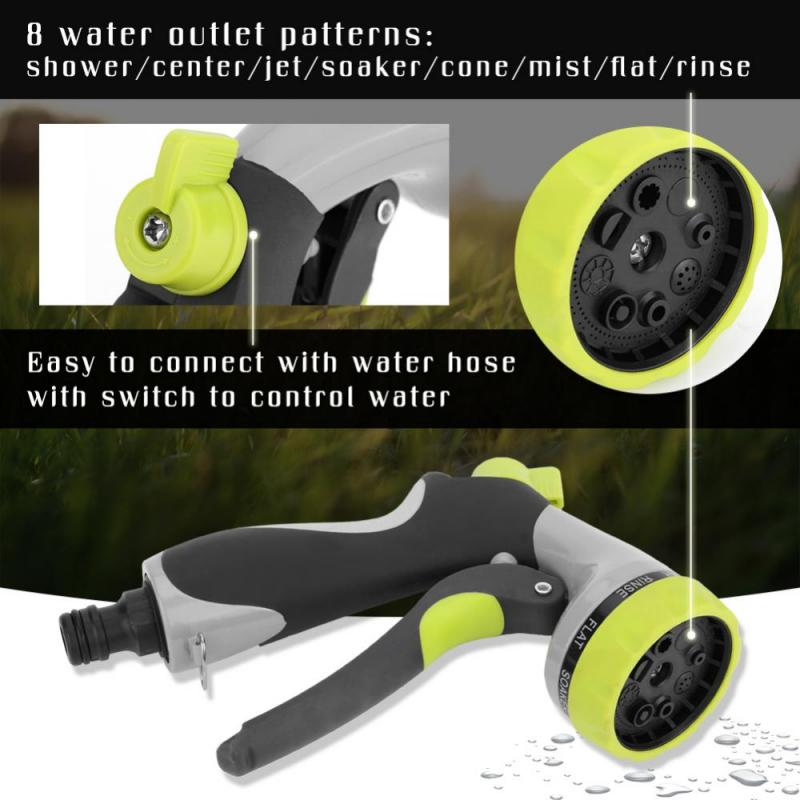 8 Patterns High Pressure Watering Lawn Hose Spray Water Nozzle Water Gun Head Hose Sprayer Garden Irrigation
