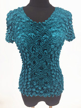 New Women Elastic Popcorn Tops short Sleeve Shirt Coin shirts