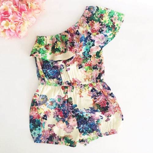 Toddler Kids Baby Girl Floral Off Shoulder   Romper   Shorts Jumpsuit Outfit Clothes