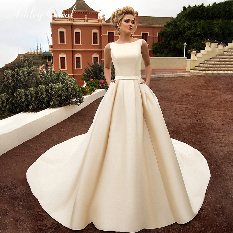 Ashley Carol Sexy Backless Bow Soft Satin Princess Wedding Dress 2019 New Elegant Scoop Sleeveless Simple Vintage Wedding Gowns-in Wedding Dresses from Weddings & Events
