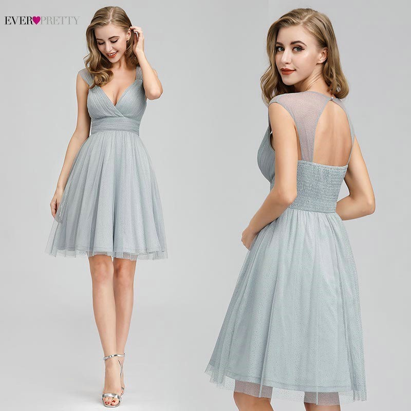 Elegant Cocktail Dresses Ever Pretty V-Neck A-Line Tulle Above Knee Sleeveless Summer Beach Party Dresses 2020 Robe Cocktail