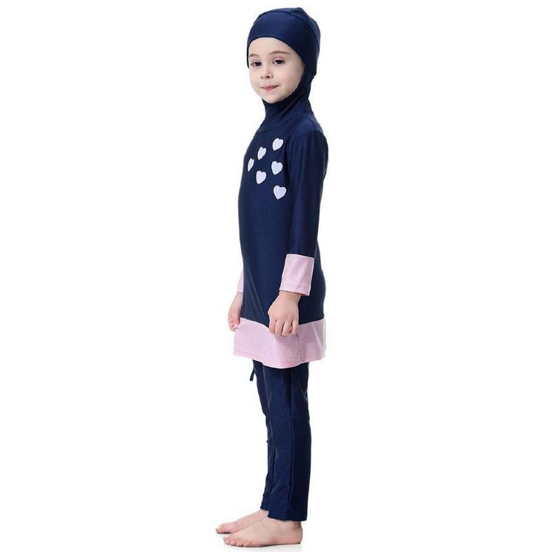 Image 5 - Kids Girl Muslim Swimwear Arab Islam Long Sleeve Two Piece Hoodie SwimsuitChildrens Two-Piece Suits