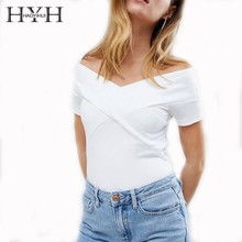 HYH HAOYIHUI 2019 Summer T-shirt Pure Color Simplicity Commute Strapless Sexy White Short Sleeve