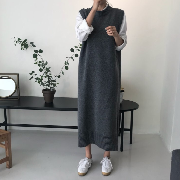 Side Split Warm Women Autumn Winter Long Sweater Knitted Sundress Loose O Neck Sleeveless Vest Lady Dresses Robe Femme Vestido