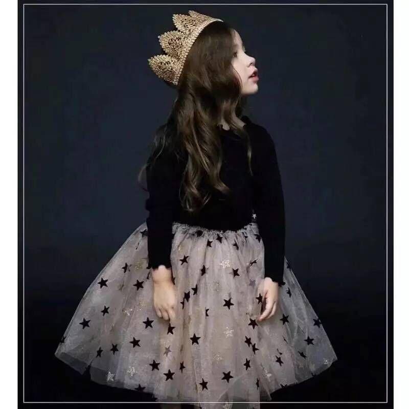 2019 new girl long sleeve star princess fashion mesh knee short dress2019 new girl long sleeve star princess fashion mesh knee short dress