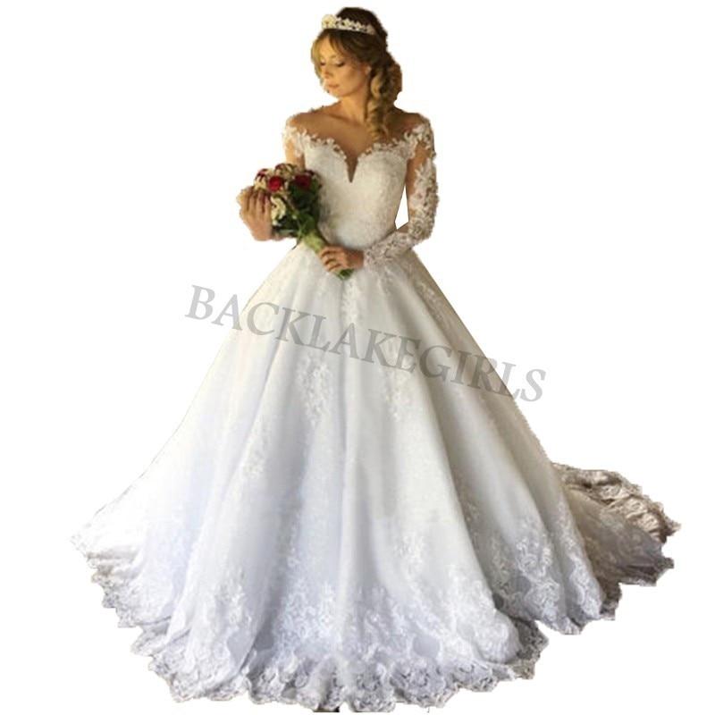 Da Sposa Sexy Wedding Ball Gown Dresses Bohemian Long Sleeve Vestido De Noiva Wedding Dress 2019 Bride Dress Robe Mariage