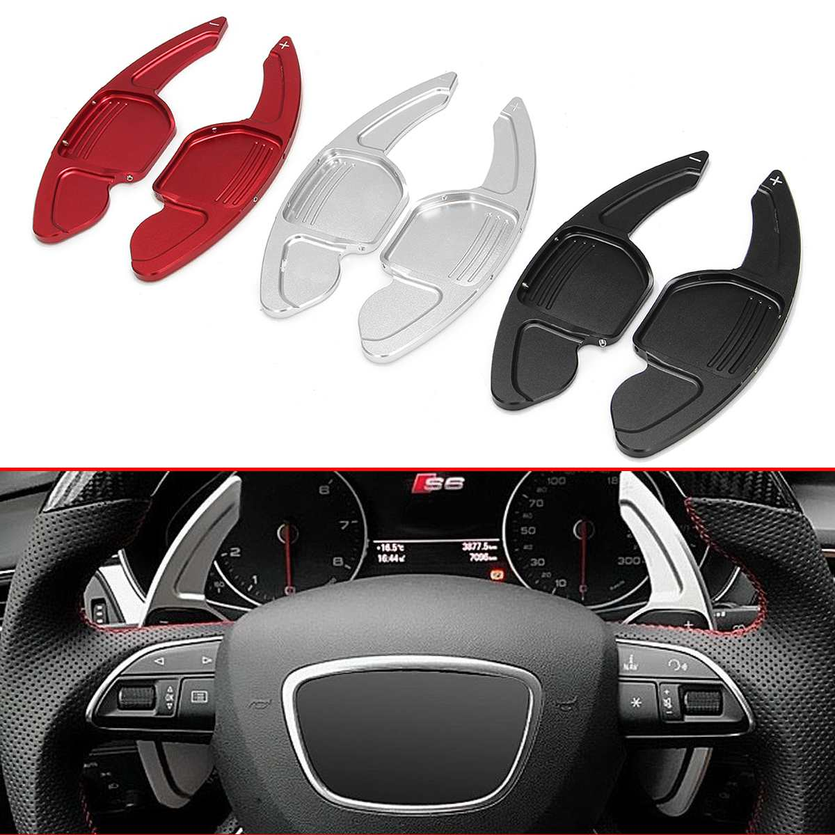 New 2pcs Car Steering Wheel Shifter Gear Shift Paddle Extension For Audi A3-A8 S4-S8 Q3-Q7 TT Paddle Shift Sticker Decoration