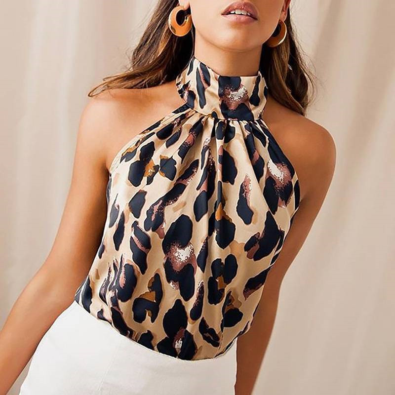 Sexy Off Shoulder Leopard Blouse Chiffon Women Tops Summer 2019 Animal Print Casual Backless Sleeveless Shirts