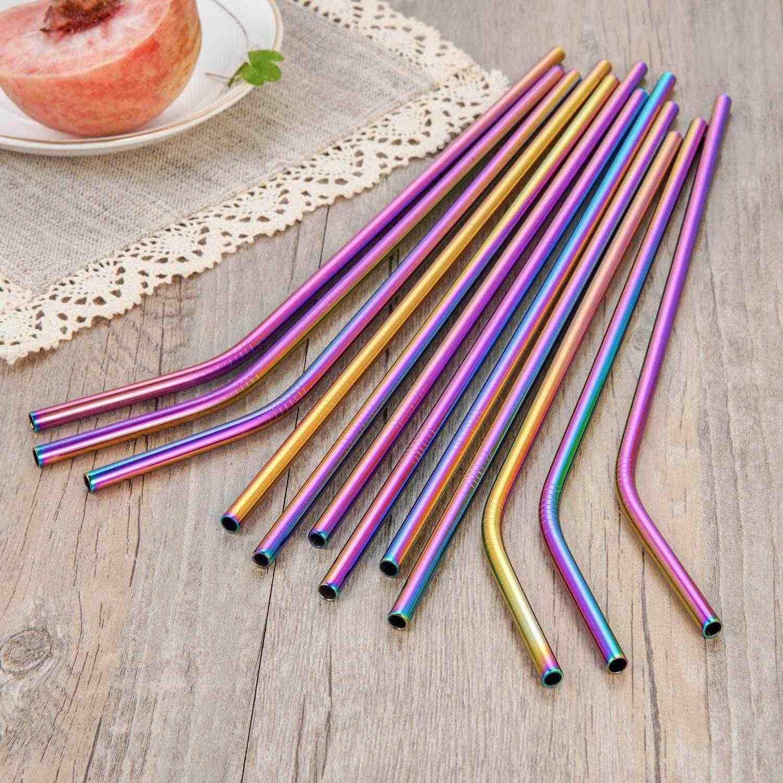 Pajitas coloridas Multicolor de acero inoxidable 10,5 pulgadas Arco Iris pajitas reutilizables para beber pajitas metálicas