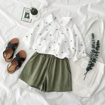 Mooirue Summer Women Two Piece Outfits Beach Boho Korean Leaves Pattern Shirt + High Waist Wide Leg Short Matching Set Shirt Set