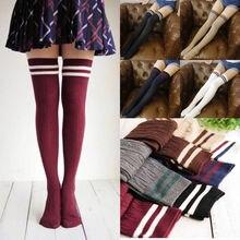 Женские популярные облегающие высокие носки, сексуальные теплые хлопковые Гольфы выше колена, длинные гольфы в полоску для девочек