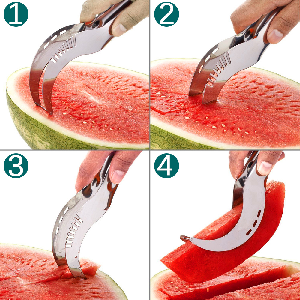 Creative Stainless Steel Watermelon Slicer Cutter Knife Corer Fruit Vegetable Tools Kitchen Gadgets Melons Cutting Tools