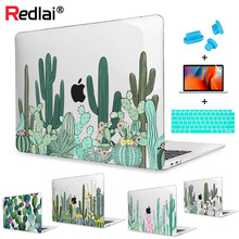 Redlai Cute Cactus Print Hard Case Cover with Screen Protector Keyboard Cover For MacBook Air Pro Retina 11 12 13 15