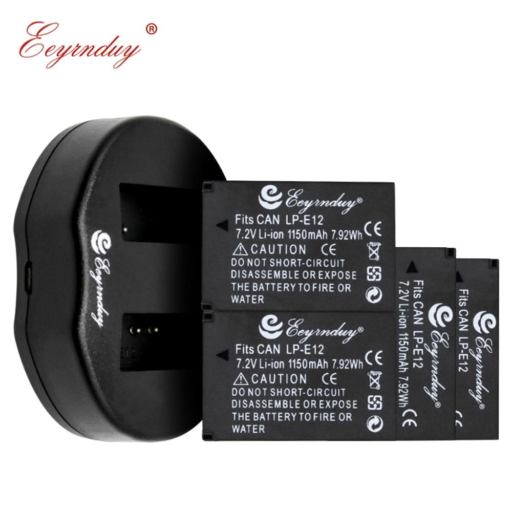 4 Batteries de LP-E12 et chargeur USB pour Canon rebelle SL1 EOS-M EOS M2 EOS M10 EOS M50 EOS M100 appareil photo numérique sans miroir