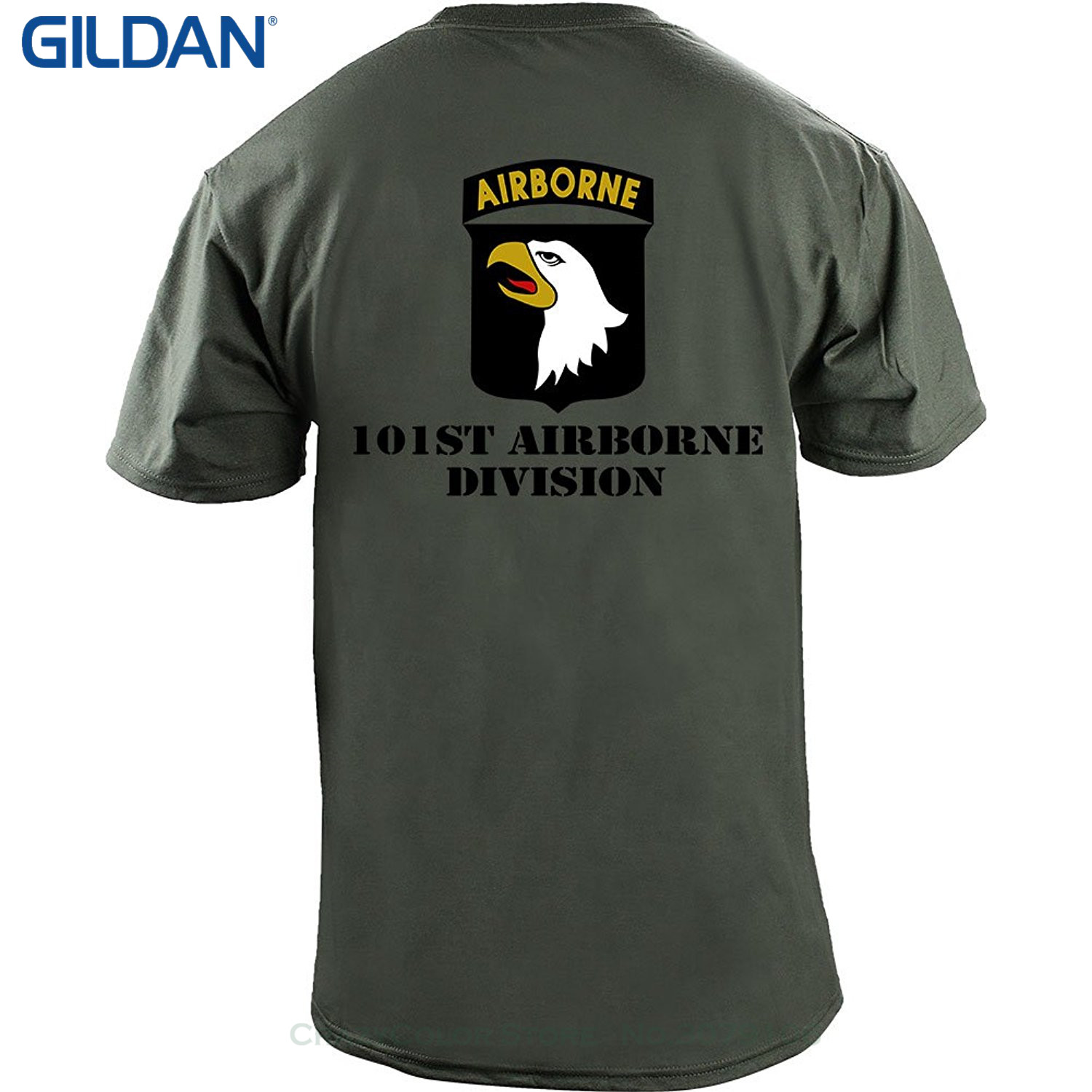 Short Sleeve Funny Design Army 101st Airborne Division Full Color Veteran T-shirt