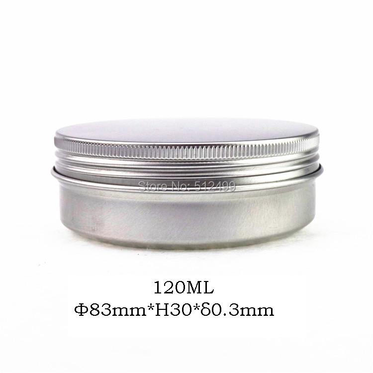 120g refillable box empty round aluminum metal tin cans bottle with lids 120ml cosmetic cream box DIY seal 83*30mm aluminum jar