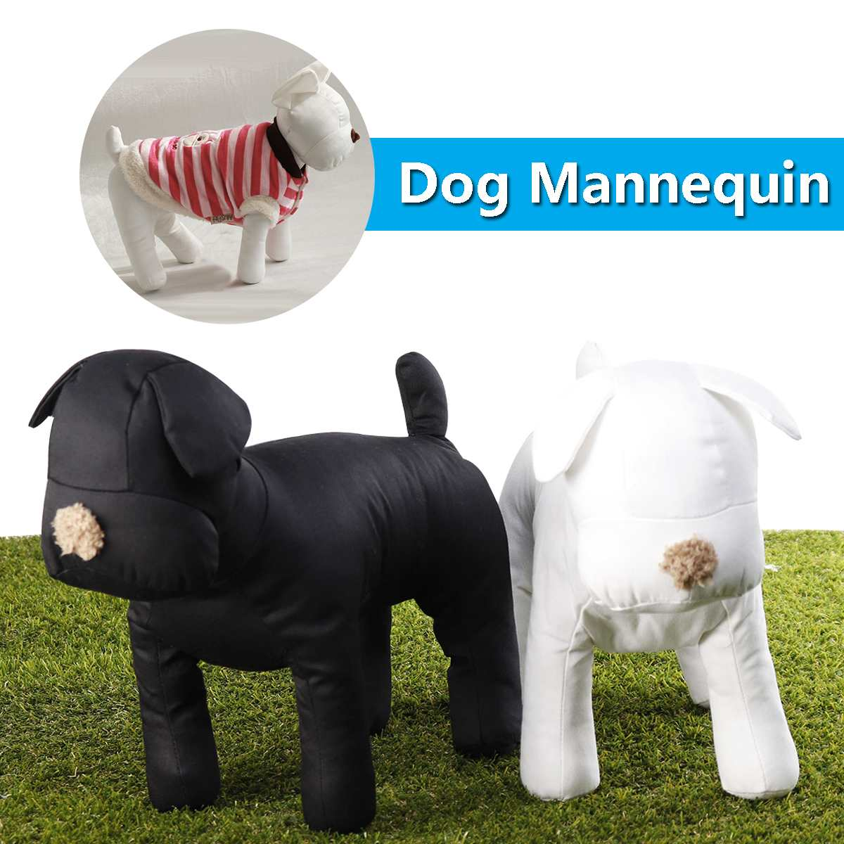 Dog Mannequin Cotton Stuffed Model Clothing Apparel Shop Collar Display Pet Toy Black/White Adjusted Leg Poses For Retail Store