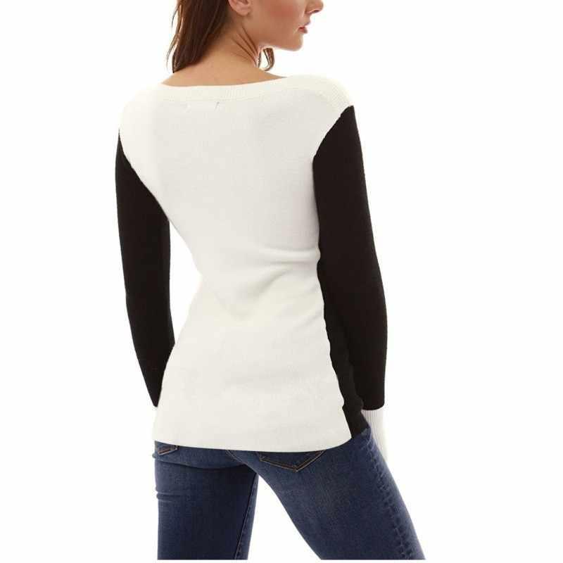 Осенняя футболка, женская футболка с круглым вырезом, повседневный топ в стиле пэчворк, женская футболка с длинными рукавами, черная белая женская футболка, Топ