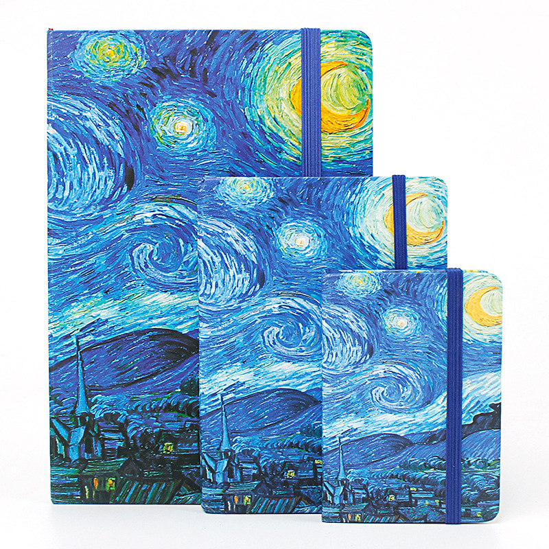 A5 Mini Vincent Van Gogh Notebook Sketch Book Travel Travellers Bullet Journal Stencil Divider Agenda School