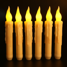 6Pcs Remote Control Flameless Candles Homemory Battery Operated LED Taper Candles Lights For Home Wedding Decoration led candles remote control electronic flameless breathing candle lights wedding party christmas decoration