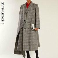 SHENGPALAE 2019 новая весенняя серая клетчатая куртка с длинными рукавами, отложной воротник, необычная свободная особенная куртка для женщин JG626