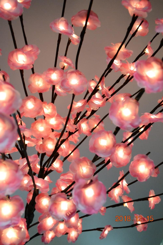 52 160 LED fleur Mini Rose fleur arbre lumière avec Base Nature tronc vacances nouvel an mariage Luminaria décoratif arbre lumière - 4