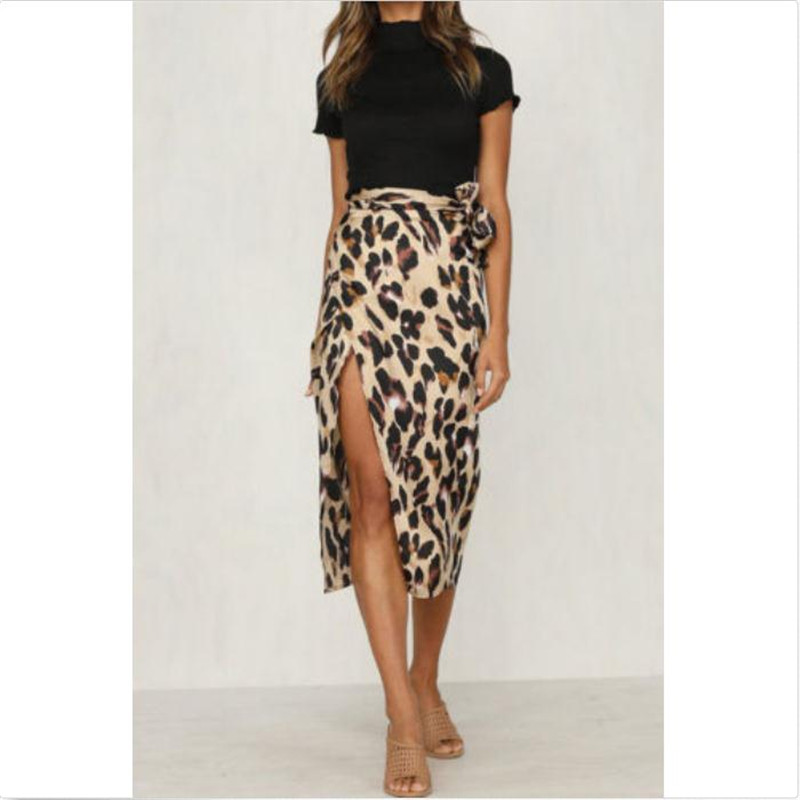Women Skirt Leopard Printed High Waist Polyester New Ladies' Sexy Open Fork Summer Bnadage Wears Joker Hot Sale Casual Summer