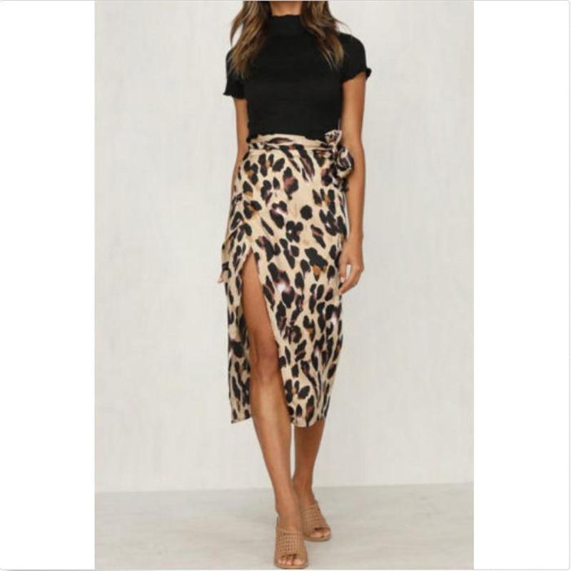 Women Skirt Leopard Printed High Waist Polyester New Ladies' Sexy Open Fork Summer Bnadage Wears Joker Hot Sale Casual Summer