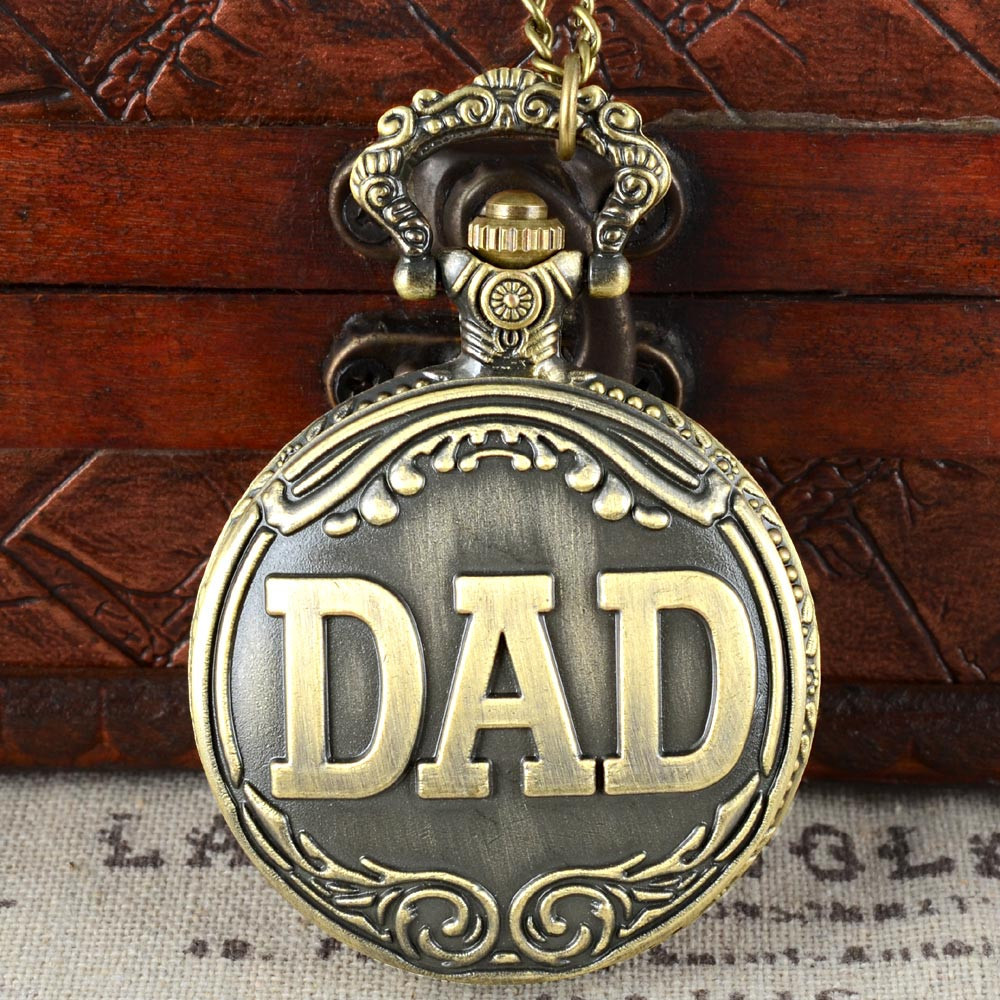 Father's Day Full Hunter Quartz Engraved Fob Retro Pendant Pocket Watch Chain Gift For Dad