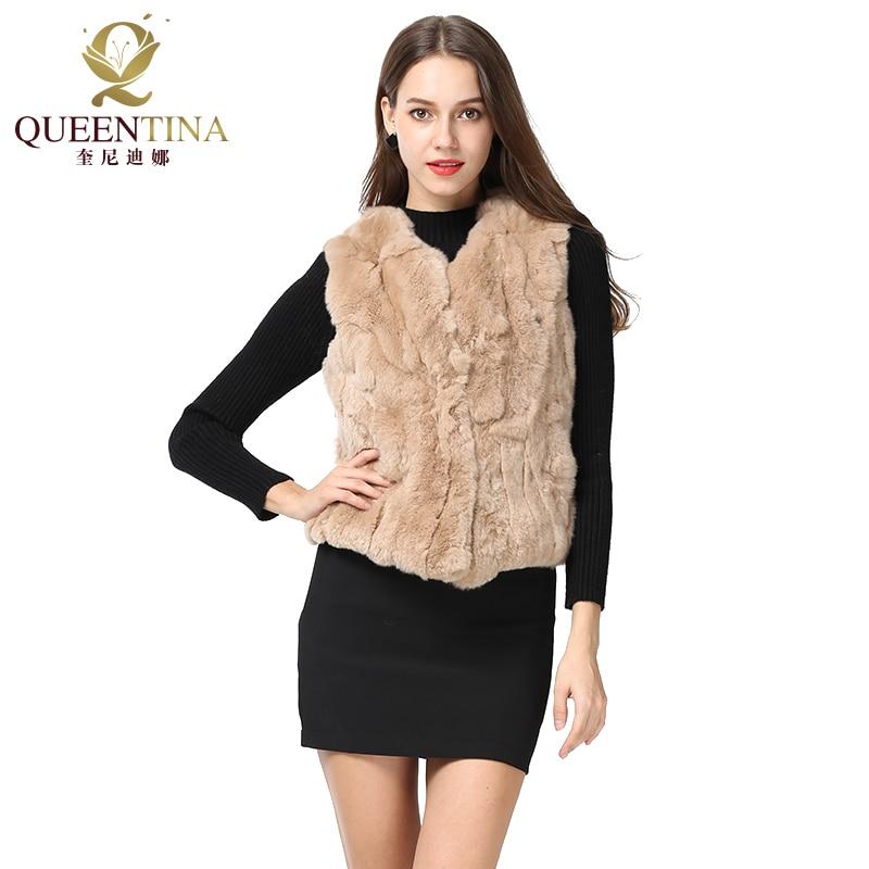 New Fashion Winter Rex Rabbit Fur Vest Slim Short Real Fur Jackets Thicken Warm Fur Waistcoats