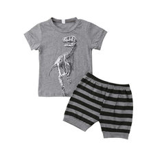 2Pcs Toddler Kid Baby Boy Dinosaur Tops T-shirt Pants Outfit Clothes Summer 1-7Y Toddler Boy Clothes Short Sleeve Baby Set(China)