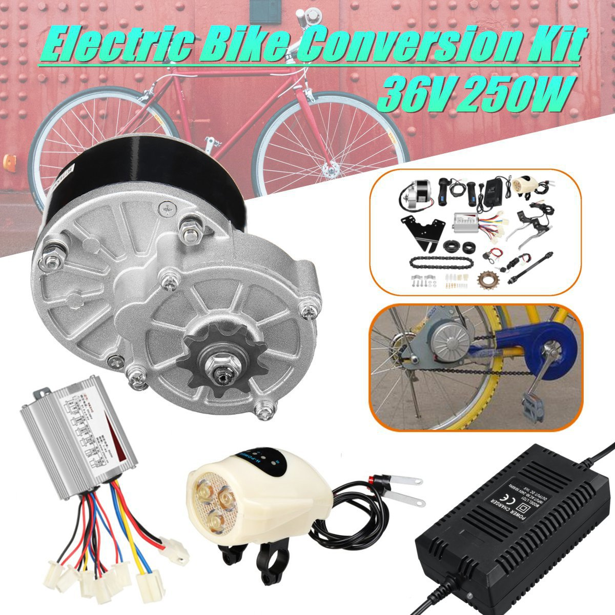 36V 250W Electric Bike Conversion Kit Controller Charger Speed Control Switch For 22-28'' Common Bicycle my1016z2 dc 36v 250w diy 22 28 electric motors for bikes electric bike kit electric bike conversion kit